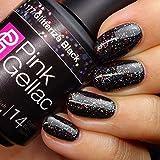 PINK Gellac color 177 Negro Glitterize Black esmalte pintauñas 15ml gel permanente 14 días