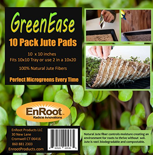 GreenEase 10x10 Jute Microgreen Hydroponic Grow Pads - 10 Pack- Fits 10x10 standard nursery tray. Grow nutritious Organic Microgreens, Wheat grass, Plant & Seed germination. Certified for Organic Use.