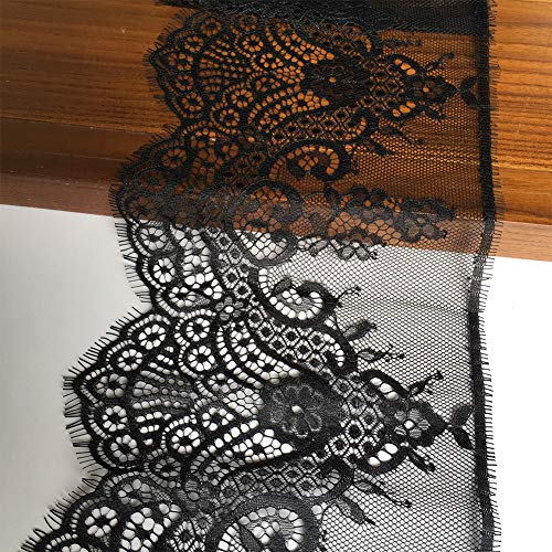 Olive Lace 7 Inch x 120 Inch Black Eyelash Lace Fabric with Floral Pattern Lace Trims for Sewing,Decorating, Floral Designing and Crafts (640 Black)