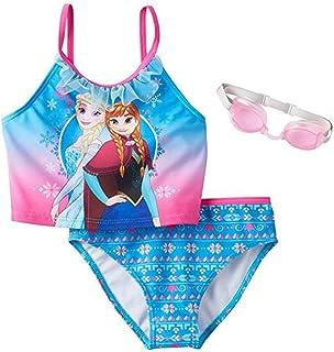 4fbd12ee5d6 Disney s Frozen Elsa   Anna Girls 2-pc Ruffle Tankini Swimsuit w Goggles