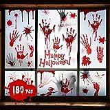 Halloween decoracion Terro 9 Hojas, Decoracion Halloween casa 180 PCS, Halloween Pegatinas Sangrienta Vinilos Para Ventanas, Adornos Halloween Para Casa Pegatinas Sangrientas Para Fiesta De Halloween