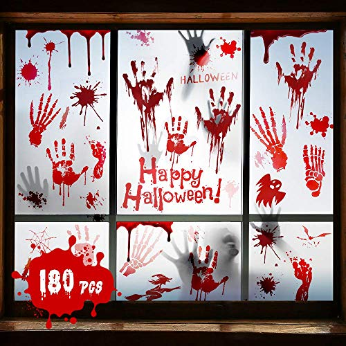 Halloween Deko Halloween Blutige Aufkleber 180pcs für Halloween Deko Tür, Halloween Deko Fenster, Halloween Deko Set Halloween Aufkleber 9 sheets für Halloween Party Fenster Badewanne Dekoration