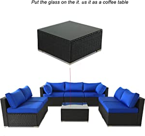 Patio Furniture Black Wicker Coffee Table w/Tempered Glass w/Extra Royal Blue Cushion Can be Used As Ottoman