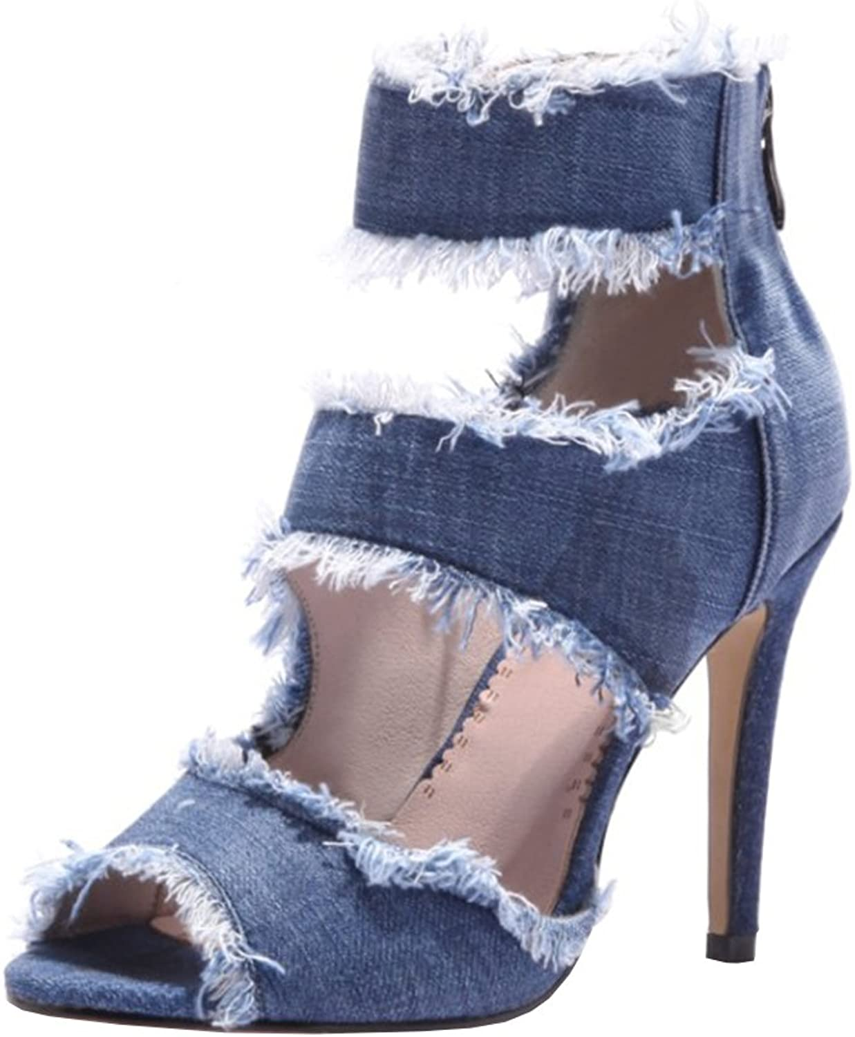 Agodor Womens High Heels Open Toe Ankle Strap Pumps with Zip Denim Stiletto Sandals Summer shoes