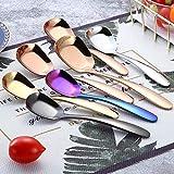 Vkio - Cuchara plana de acero inoxidable para ensalada de niños, color oro rosa, negro, Medium