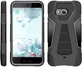 TurtleArmor | Compatible with HTC U11 Case | HTC Ocean Case [Dynamic Shell] Hybrid Dual Layer Hard Shell Kickstand Silicone Case - Black
