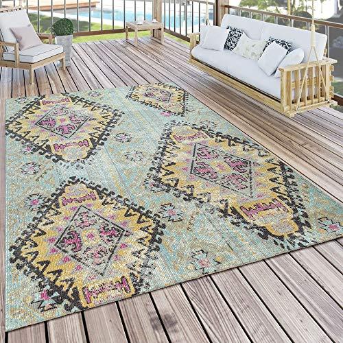 Vloerkleed Voor Buiten Turquoise Balkon Terras Ruiten Oosters Pastelkleuren Robuust Zacht, Maat:200x280 cm