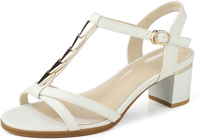 AmoonyFashion Women's Solid Microfiber Kitten-Heels Open-Toe Buckle Sandals
