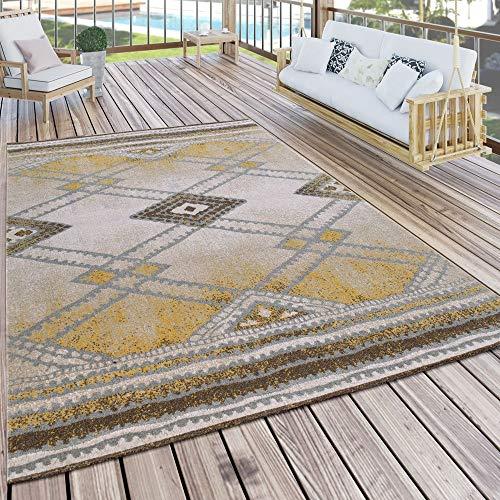 Paco Home Moderno Tappeto per Interni ed Esterni con Design Nomade, per terrazze, Resistente alle intemperie, Giallo, Dimensione:160x220 cm
