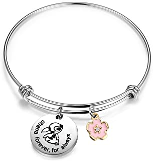 AKTAP Ohana Bracelet Ohana Forever for Always Ohana Jewelry with Hibiscus Flower Charm