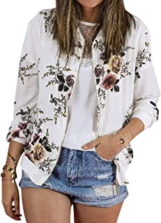 SCX Women Classic Zip Floral Printed Jacket Round Neck Long Sleeve Casual Coat Outwear
