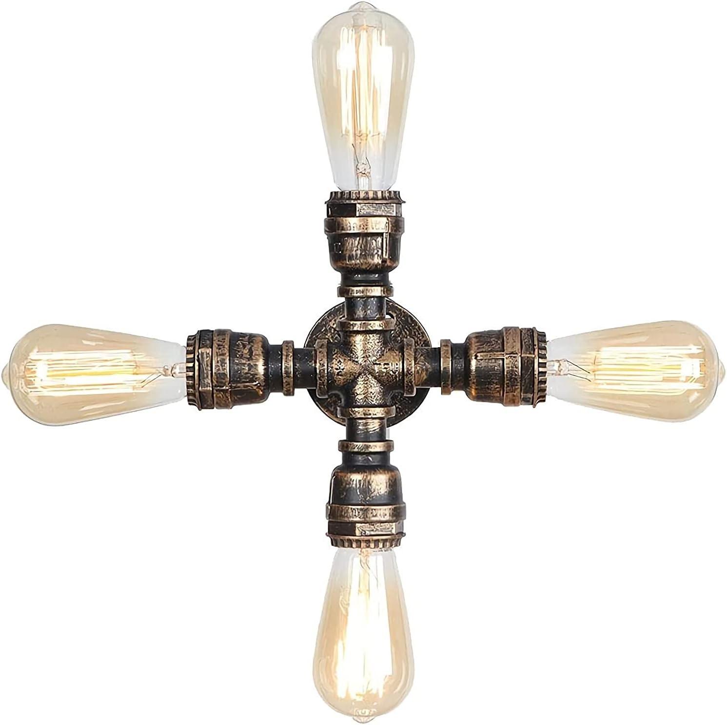 Lámpara de pared Soporte integrado Luz Retro Industrial Hierro forjado Tubería de agua Loft Personalidad Dormitorio Sala de estar Decoración Lámpara de pared minimalista americana E26 / E27 * 2