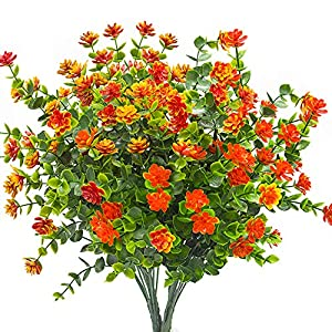 AITISOR Artificial Flowers, Fake Outdoor UV Resistant Plants Faux Plastic Greenery Shrubs Indoor Outside Hanging Planter Home Kitchen Office Wedding, Garden Decor(Orange Red)