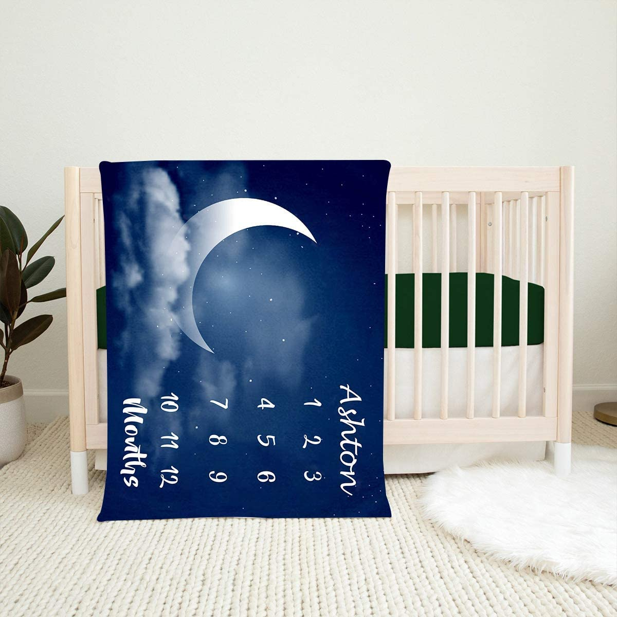 Custom Name Blanket Under blast sales Moon and Baby Mont Stars Milestone Max 71% OFF