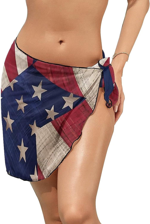 JINJUELS Women Beach Wrap Sarong Cover Up USA Patriotic Star Welcome Sexy Short Sheer Bikini Wraps