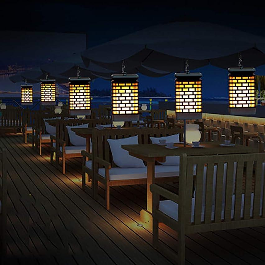食べる探検半球ソーラーランタン、ライトの屋外の炎の装飾、LEDダンスの炎の点滅ソーラーガーデンの装飾-パティオの中庭の防水景観照明