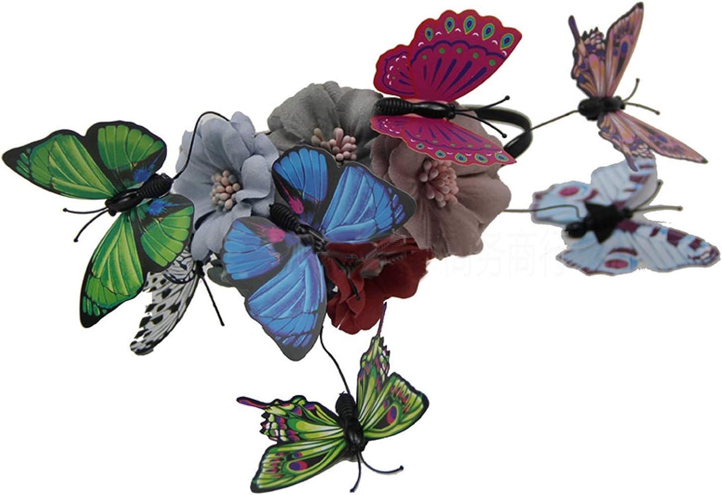Binglinghua Butterfly Fascinator Hat Monarch Derby Headband Festival Crown Halloween Costume Bohemian Wedding Headpiece