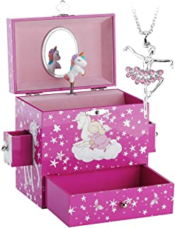 RR ROUND RICH DESIGN Kids Musical Jewelry Box for Girls with Drawer and Ballerina Necklaces with Lovely Unicorn Theme - Swan Lake Tune Rose Red