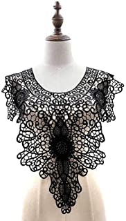 Black Embroidered Lace Trim Patches DIY Collar Lace Applique Trim Fabrics for Patchwork Sewing Supplies (Style 16)