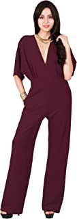 Womens Long Sexy V Neck Short Sleeve Slimming Pockets Work Jumpsuit
