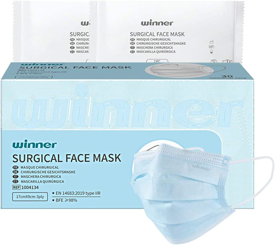 Winner Medical 3 Ply Individually Wrapped Face Masks Disposable Type IIR Surgical Face Mask, 30 Pcs/Box