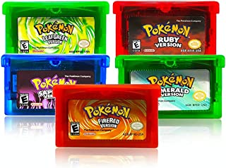 Set of 5 Emerald Ruby-Sapphire Fire-Red Leaf-Green Version GBA Game, Pocket Monster Third-Party Cards Gameboy Cartridge Co...