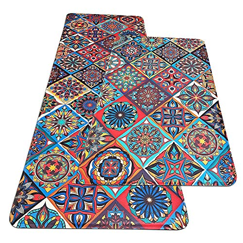 "MELAJIA Comfort Floor Mat Kitchen Mats Cushioned Anti Fatigue 2 Piece Set Non Skid Waterproof PVC Heavy Duty Kitchen Rugs (17.3"" x 27.5"" + 17.3"" x 47.2"")"