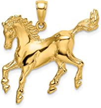 14k Yellow Gold 2 D Horse Pendant Charm Necklace Animal Fine Jewelry Gifts For Women For Her