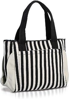 NICOLE & DORIS NICOLE&DORIS Neu Tote Handtasche Schultertasche Streifen-Canvas Tasche Sommer Strandtasche Hobo Bag für Damen Frau Weiblich