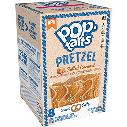 Pop-Tarts Pretzel Toaster Pastries, Breakfast Foods, Baked in the USA, Salted Caramel Drizzle, 13.5oz Box (8 Toaster Pastries)