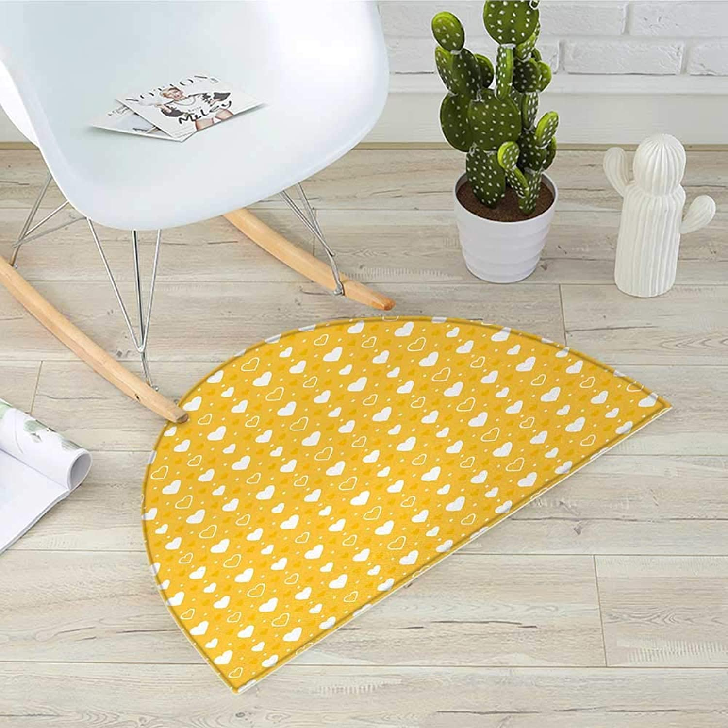 Yellow Half Round Door mats Full and Empty Heart Shapes with Little Dots and Tiny Cute Sweet Hearts Pattern Bathroom Mat H 39.3  xD 59  Yellow White