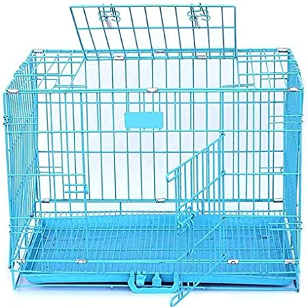 RvPaws Dog Cage Easy to Move with Removable Tray Iron Cage Powder Coated for Dog & Rabbit 24 Inch Sky Blue