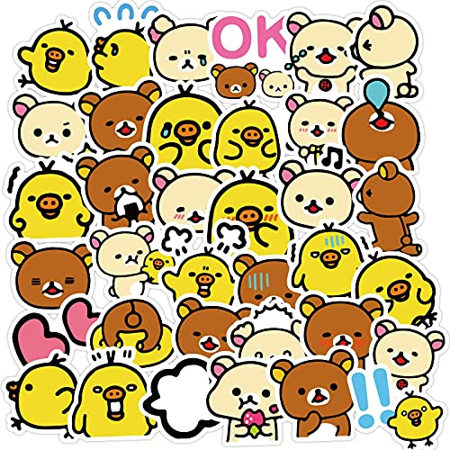 Lindo pequeño oso amarillo pato mano cuenta etiqueta engomada aislamiento taza teléfono móvil lindo agua taza pvc impermeable etiqueta engomada paquete 40 unids