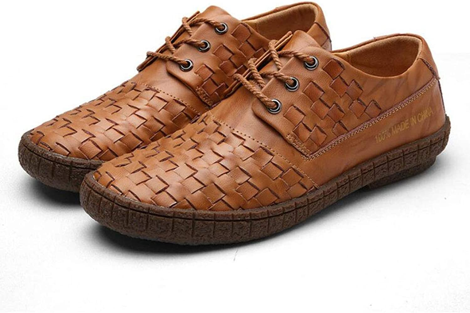 Men's shoes 2018 New Lace-up Woven shoes Leather Fashion Low-top Casual shoes Business shoes Driving shoes YAN