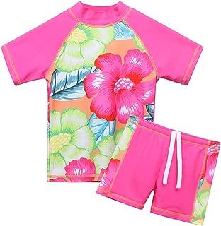 Girls Two Piece Swimsuit Floral UPF 50+ Rash Guard Set Kids Swimwear