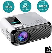 Black Jelly - Proyector HD con 4500 Lúmenes, soporta 1080P (resolución nativa 720P), HDMI*2/USB/VGA/ Audio (3.5 mm)