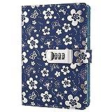 Journal en Cuir PU écriture Carnet,Journal Ligné Carnet de Notes avec Serrure à combinaison Cahier Journal...