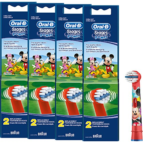 Braun Oral-B Stages Power Kids Aufsteckbürsten Micky Maus 8er Pack Bürstenköpfe Kinder EB10-2K Mickey Mouse