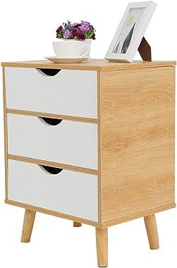 Nightstand Bedside Bedroom End Side Table 3 Drawer Stand Storage Furniture Assemble Storage Cabinet Bedroom Bedside Locker Th