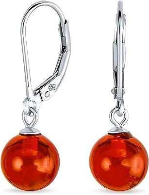 Orecchini a sfera a goccia con leva rotonda ambra semplice per donna 925 Sterling Silver 8MM