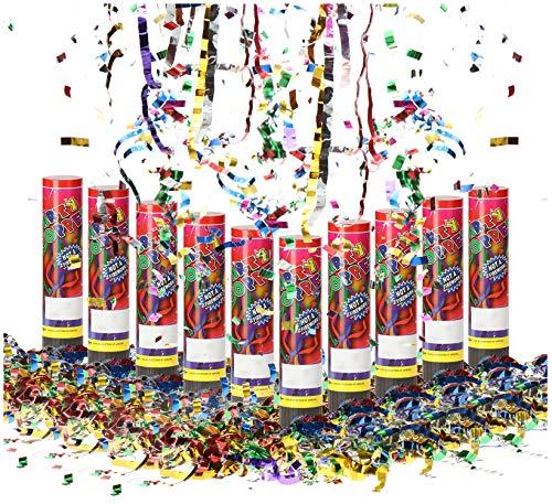com-four® 10x Shooter Party Popper-Set 20,5 cm, Konfetti-Kanone, buntes glänzendes Konfetti für Silvester, Partys, Geburtstage, Konfetti Bombe (10 Stück - 20.5cm)