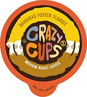 Crazy Cups Flavored Coffee for Keurig K-Cup Machines, Bananas Foster Flambe', Hot or Iced Drinks, 22 Single Serve, Recycla...