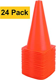 9 Inch Traffic Cones | Sport Training Cone | Plastic Safety Agility Field Marker Cones for Soccer Basketball Football Skate Drills Training, Outdoor Activity or Events - (Set of 10, 15 or 24, Orange)