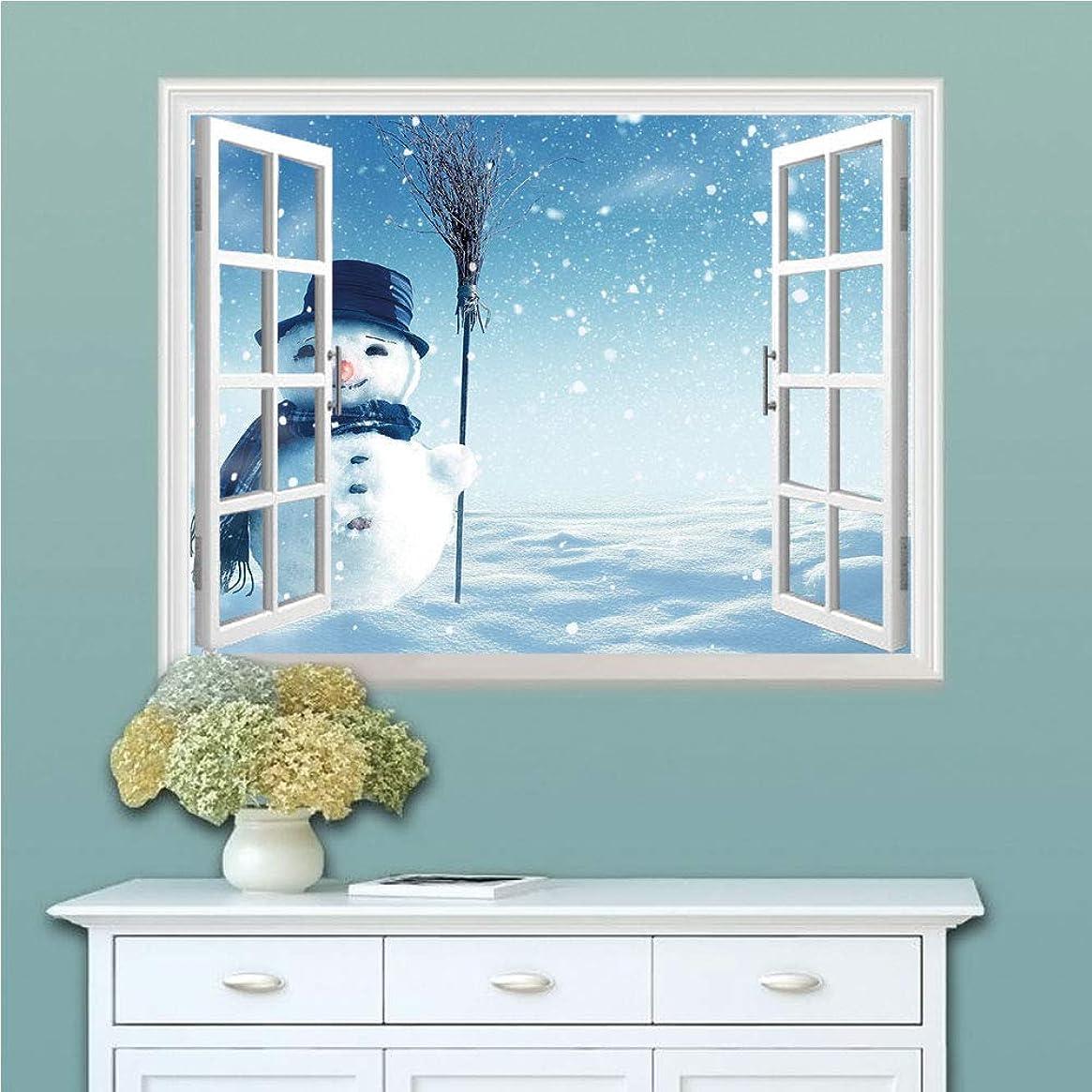 シーン消費者議題偽窓ステッカウォールステッカー サンタクロース クリスマス クリスマスツリー トナカイ シール サンタ 飾り ステッカー 壁シール 星 雪 窓 壁紙 雪だるま 雪に覆われた冬の風景 かわいい幸せな雪だるまの冷たい屋外装飾 雪だるま