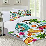 VICCHYY Juego de Funda nordica,Ropa de Cama,Hawaiian Surfer On Wavy Deep Sea Retro Style Palm Trees Flowers Surf Boards Print,Microfibra,Edredon 240x260cm con 2 Fundas de Almohada 50x80cm