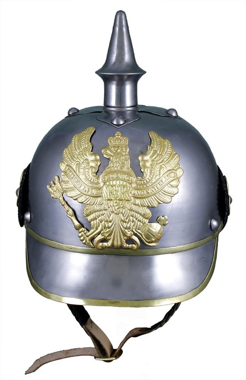 German 19Th Cent. Helmet - Pickelhaube - In Steel W  Brass Trim