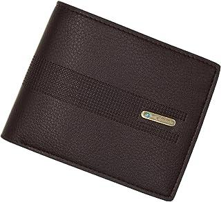BeniNew men's wallet short solid color three fold horizontal square wallet-Dark brown