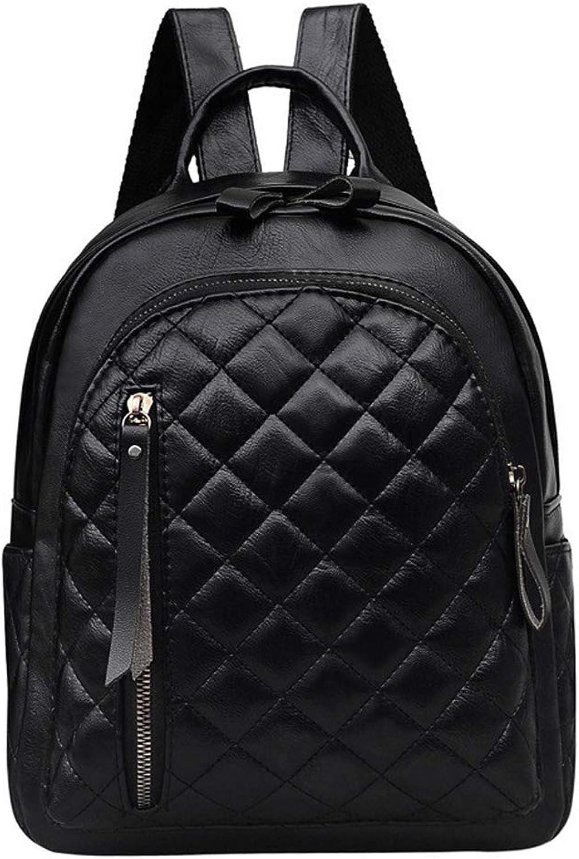 Women's Backpack Student Backpack Pu Leather Rhombic Waterproof WearResistant Mini Backpack Fashion Lightweight Sports Bag Black