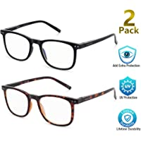 2-Pack Aosm Blue Light Blocking Reading Glasses for Anti Eyestrain
