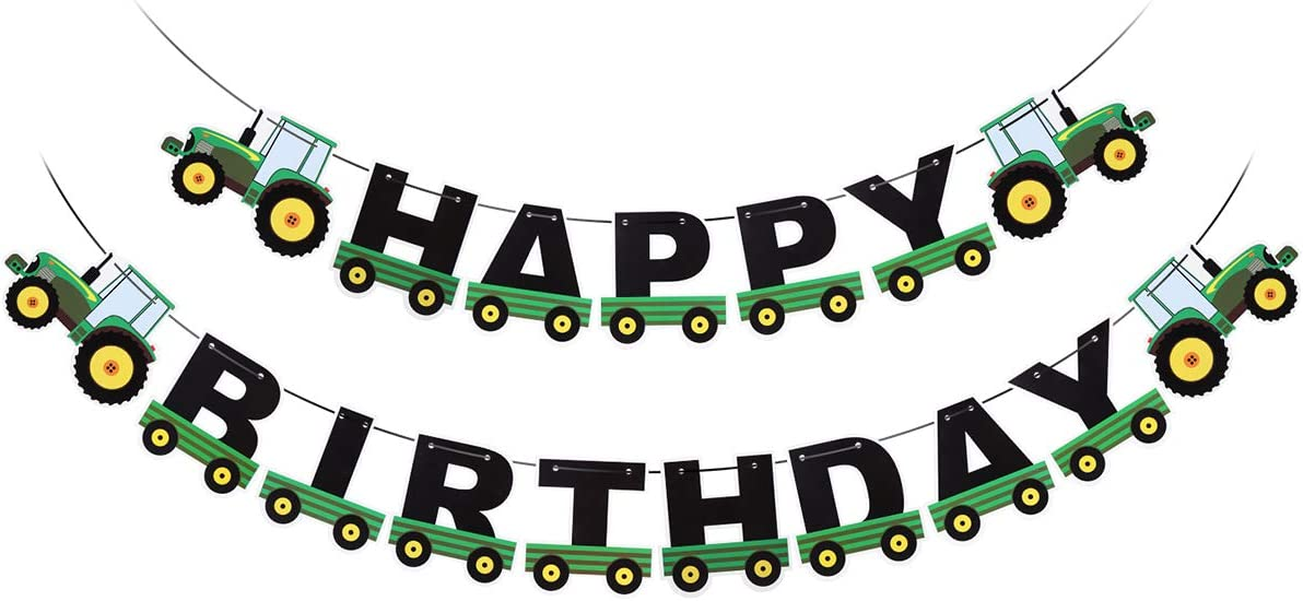 Amosfun Green Tractor Happy Birthday Banner Tractor Bunting Banners Kids Birthday Tractor Theme Decorations for Birthday Baby Shower Party Supplies